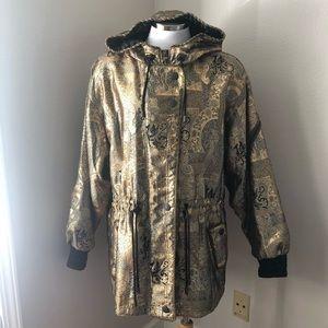SKEA Vintage Gold Hooded Dragon Print Ski Jacket